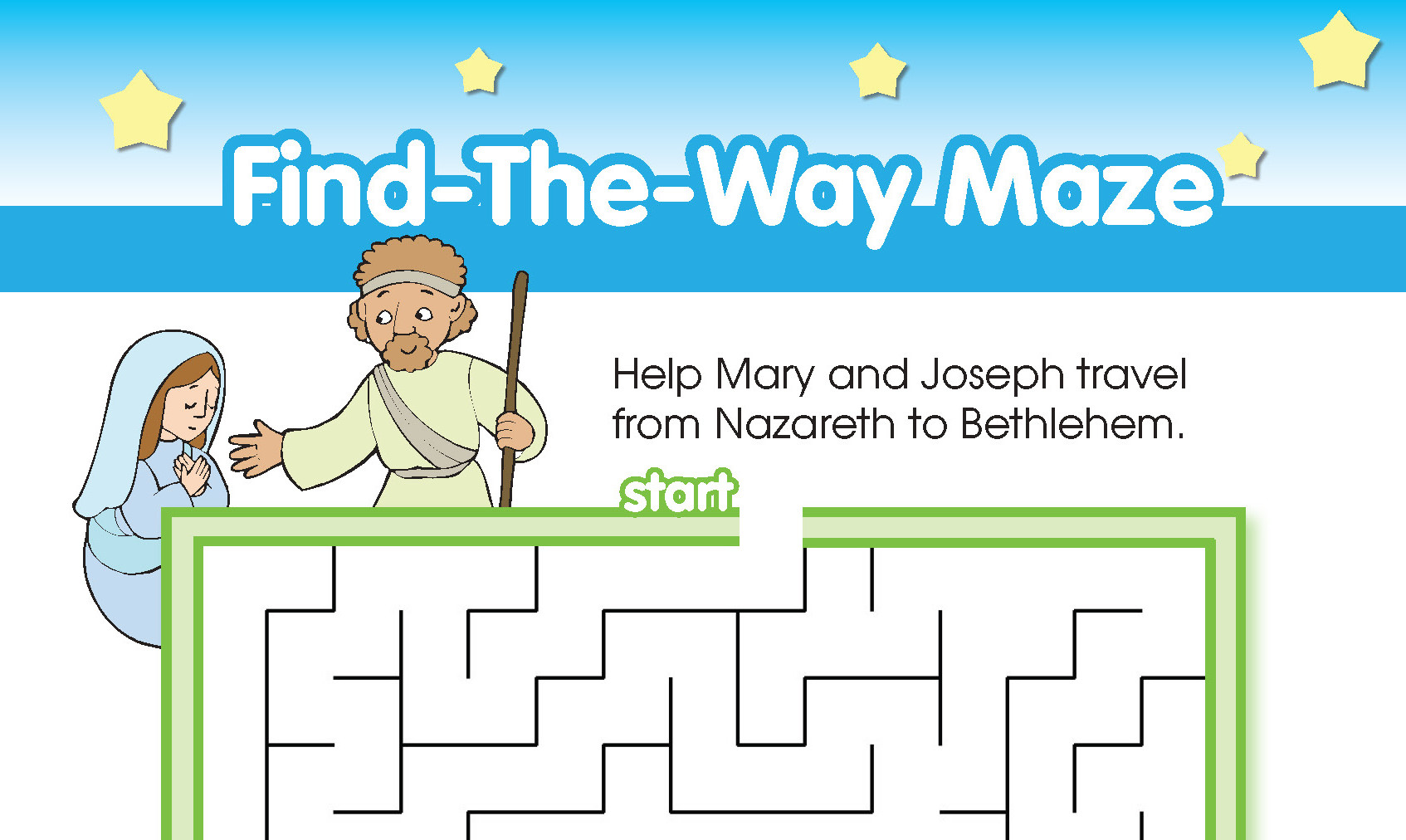 mary and joseph travel to bethlehem coloring pages - find the way maze kim mitzo thompson